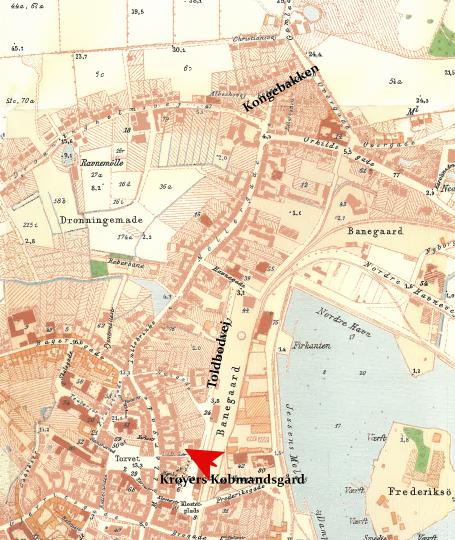 Svendborg 1902 Kongebakken, Toldbodvej og Krøyers købmandsgård