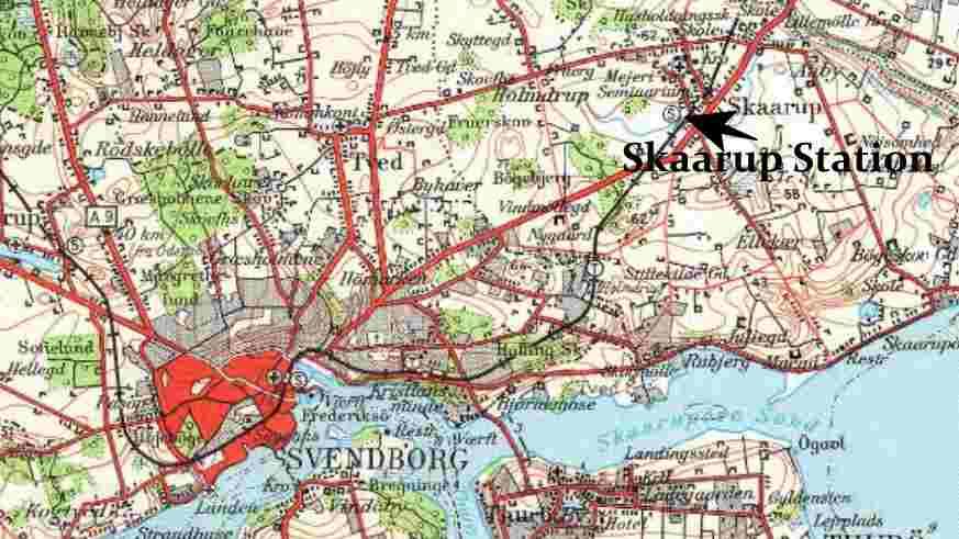 Kort fra 1946 over Sydfyn med Svendborg og Skaarup.